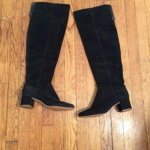Madewell Over the Knee Suede Boots In Black